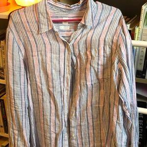 Gap linen pink and blue boyfriend shirt
